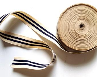 Ribbon old weaving beige striped blue marine