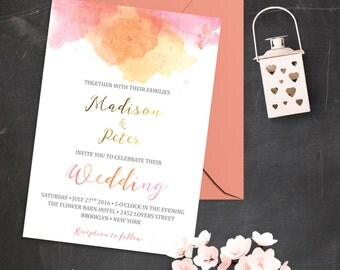 Blush Pink and Gold Wedding Invitations Printable Wedding Invitation Set Watercolor Wedding Invite Pink Watercolor Wedding Invitation Suite