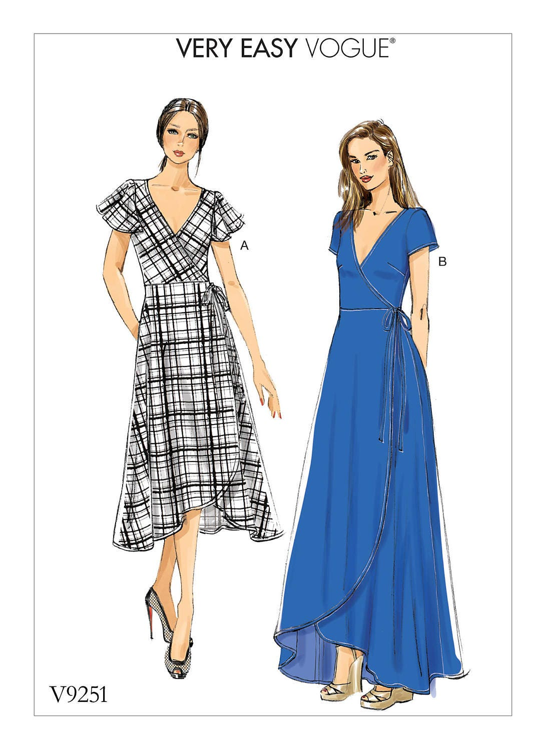 Sewing Pattern For Misses WRAP DRESSES W/variations Vogue