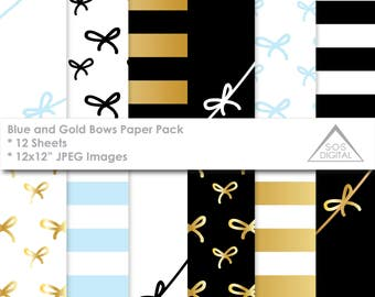 Girly Bow Paper Pack, Black Blue and Gold Digital Papers, stripes, bow tie, small commercial use, jpeg files, foil paper pattern