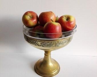 Pedestal bowl, fruit bowl, art deco, french vintage, vintage bowl, footed bowl, pedestal, centerpiece, bowl, glass bowl, vintage brass