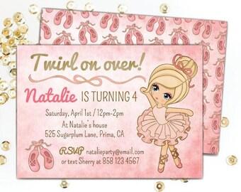 Ballerina Invitation, Ballet / Ballerina Birthday Party Invites, Pink Birthday Invitations, Choose Digital ~OR~ Printed Invitations