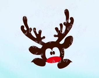 Reindeer SVG File, Rudolph Svg, Deer Svg, Christmas Cutting File, Cute Reindeer DXF, Peeking Silhouette, Digital File, Cricut File