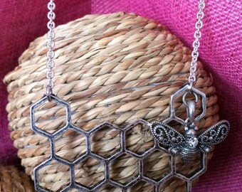 Silver Honeycomb statment necklace with beautiful crystal bee
