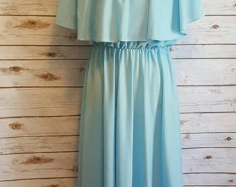 Vintage, 1970's,  Anthony Richard's baby blue capelet dress, Large