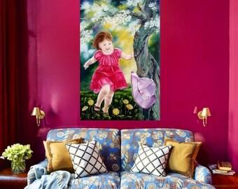 Oil Painting, Nature, Girl, Spring, Apple tree, Flowers, Dandelions, Wind, Sun