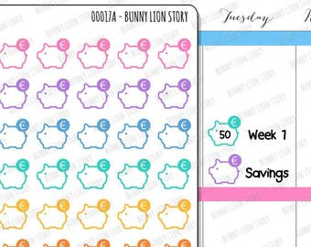 00017 | 35 Small Piggy Bank Savings Euro Currency Cute Kawaii Agenda Diary Journal Reminder Schedule Scrapbook Planner Stickers