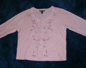 Vintage Pink Sweater Embellished  Pearls and Rhinestones XL