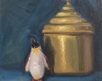 Oil painting , still life ,Indian pot and china penguin.