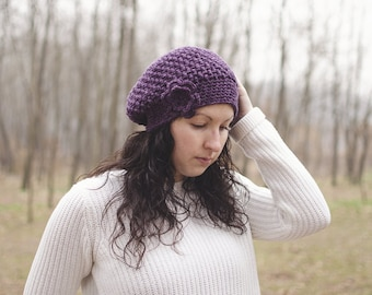 Crochet beret Hat-mod. Daphne-purple plum