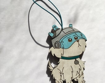 Snuffles Christmas Tree Ornament   Snowball Wooden Holiday Hanging   Where Are My Testicles Summer? Rear View Mirror Decoration