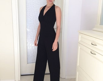 Original Black Open Back Elegant Jumpsuit • Black Jumper • Elegant Romper • Handmade by Marsiybell MB02R