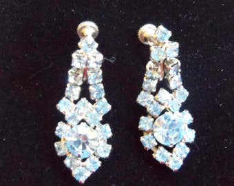 Light Blue Rhinestone Earrings - Crystal Screw Back Earrings - Vintage Crystal Dangle Earrings