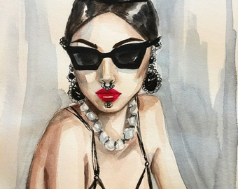Bejeweled beauty Original Watercolor Fashion Illustration Painting