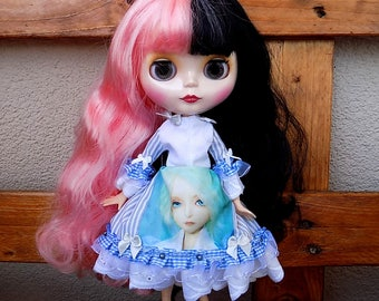 Lolita harajuku blue print - dress for Blythe custom doll