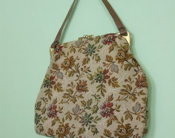 70s tapestry bag / handbag  / vintage / flowers