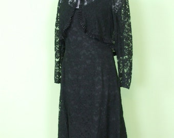60s lace dress with little bolero jacket / size S / vintage / black