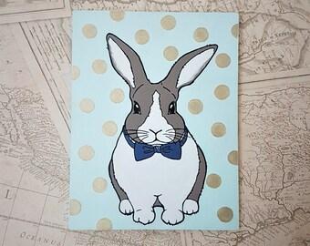 Bunny nursery painting, original rabbit art, nursery decor, childrens rabbit painting, rabbit illustration, childrens room decor, bunny art.