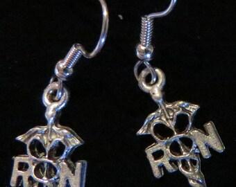 RN Registered Nurse Caduceus Earrings Oxidized Matte Silver Medical Symbol ES345