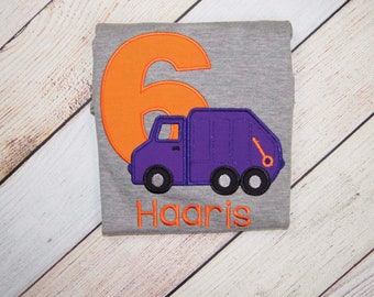 Garbage Truck Birthday Shirt - Third Birthday Outfit - Rubbish Collector - Appliqué Birthday Outfit - Truck Bodysuit - Smash Cake Outfit