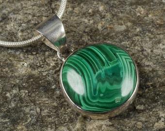 3.25cm MALACHITE Pendant - Sterling Silver Pendant, Malachite Stone, Malachite Necklace, Malachite Cabochon, Malachite Jewelry Making J1031