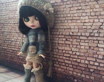 blythe outfit, blythe clothes, blythe dress, , doll dress, , doll knitted set, blythe couture, bjd clothes, blythe fashion