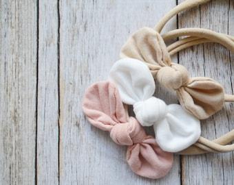 Nylon baby headband Set, Fabric knotted bows, baby nylon headband, newborn headband, baby shower gift set, nylon headband set