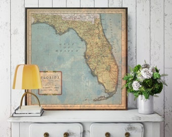 Florida State Map, Florida Map Canvas, Antiqued Florida Map, Canvas Wall Decor, Florida Wall Decor, Map of Florida Canvas