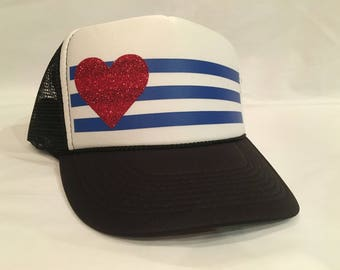 Black and White Trucker Hat with Stripes and Star