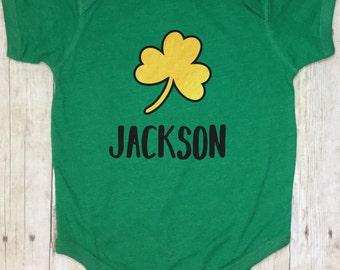 St. Patricks Day Boy Bodysuit-Green Bodysuit-St. Patricks Day Baby Boy-St. Patricks Clover-First St Patricks Day-Monogrammed