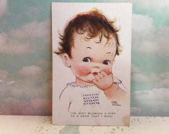 Vintage Edwardian 1920s Mabel Lucie Attwell Postcard - Posted 1928 - Blowing a Kiss Valentines Day Card