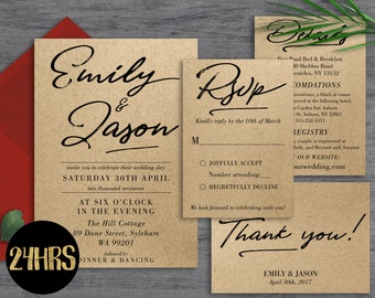 wedding invitation template download printable wedding invitation set wedding invite suite rustic rustic - Rustic Wedding Invitation Templates