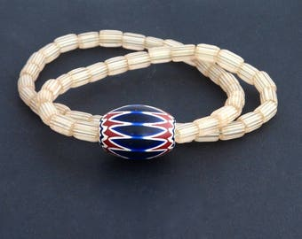 v40-   An Antique Venetian chevron bead  and gooseberries necklace