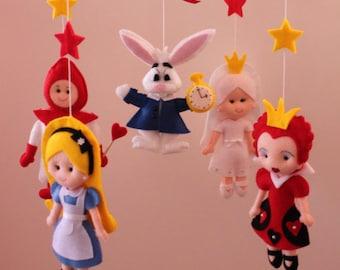 Alice in Wonderland Mobile Baby, Crib Mobile Nursery Alice, Mad Hatter, Queen of Hearts, Cheshire Cat - Handmade Felt