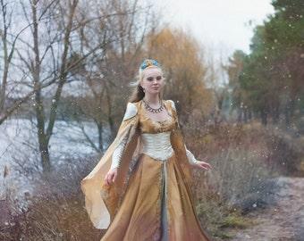 Elven dress, fantasy dress, longsleeved dress, larp costume, medieval fantasy dress, Renaissance dress
