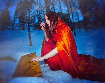 Fantasy cloak, hooded cloak, taffeta cloak, larp costume, fantasy costume, larp cloak
