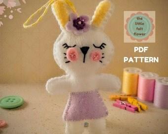 Felt Pattern-Felt-Easter Bunny - Sewing Pattern Tutorial-Felt PDF Pattern-Decor-Felt Patterns-DIY Gift-Easter Ornament