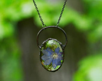 Moss hepatica flower terrarium necklace Botanical forest floral pendant Tiffany glass Nature jewelry Natural Rustic wedding Bridesmaids gift