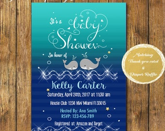 Digital file or Printed-Whale Baby Shower Invitation-Nautical Baby Shower Invitation-Under the Sea Baby Shower Boy-Navy Blue-Free Shipping
