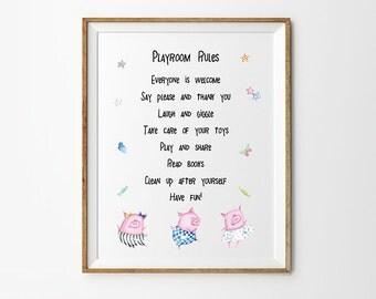 Playroom Rules, 8 x 10 in, 11 x 14 in, 17 x 22 in, Playroom Art Print, Playroom Printable, Kids Poster, Kids prints, Kids Printables