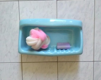 Vintage cyan soap dish - Bathroom Accessories - Porcelain soap dish - soap dish shower-bath
