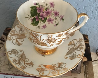 Lovely English Fine Bone China Cup and Saucer Set by Clarence with Lilacs and Heavy Gilding, c. 1960