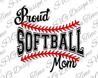 Proud Softball Mom SVG - Softball Cut File - PNG File - Softball Clipart - Softball SVG - Silhouette Cut File - Cricut Cut File