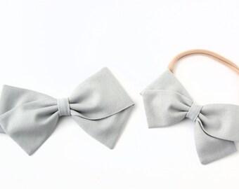 Gray Hair Bow - Fabric Hair Bows - Nylon Headbands or Hair Clips For Girls
