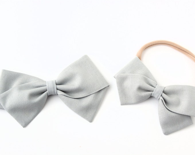 Gray Hair Bow - Fabric Hair Bows - Nylon Headbands or Hair Clips For Girls