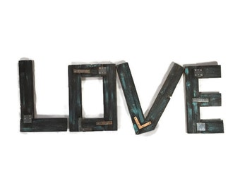 turquoise wood love sign large wooden letters distressed letters large wood letters unfinished large love sign wall letters