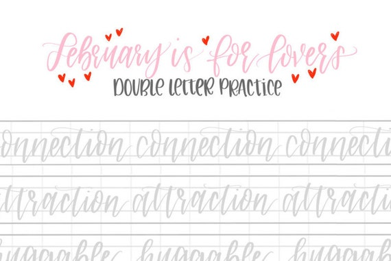 Hand lettering practice sheets double letter words