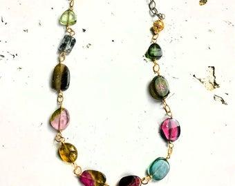 Tourmaline Necklace--Tourmaline Jewelry--Watermelon Tourmaline Necklace--Blue Tourmaline--Tourmaline Slices