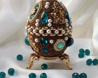 Jeweled Egg, Easter Egg, Paschal Egg, Jewelry Art, Home Decor, Art Collectible, OOAK Gift, Family Heirloom Art, Home Accessories