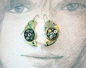 Steampunk earrings, art-deco, gustav Klimt, style gears, resin & swarovski cabs(pink or vintage rainbow). for pierced ears or not